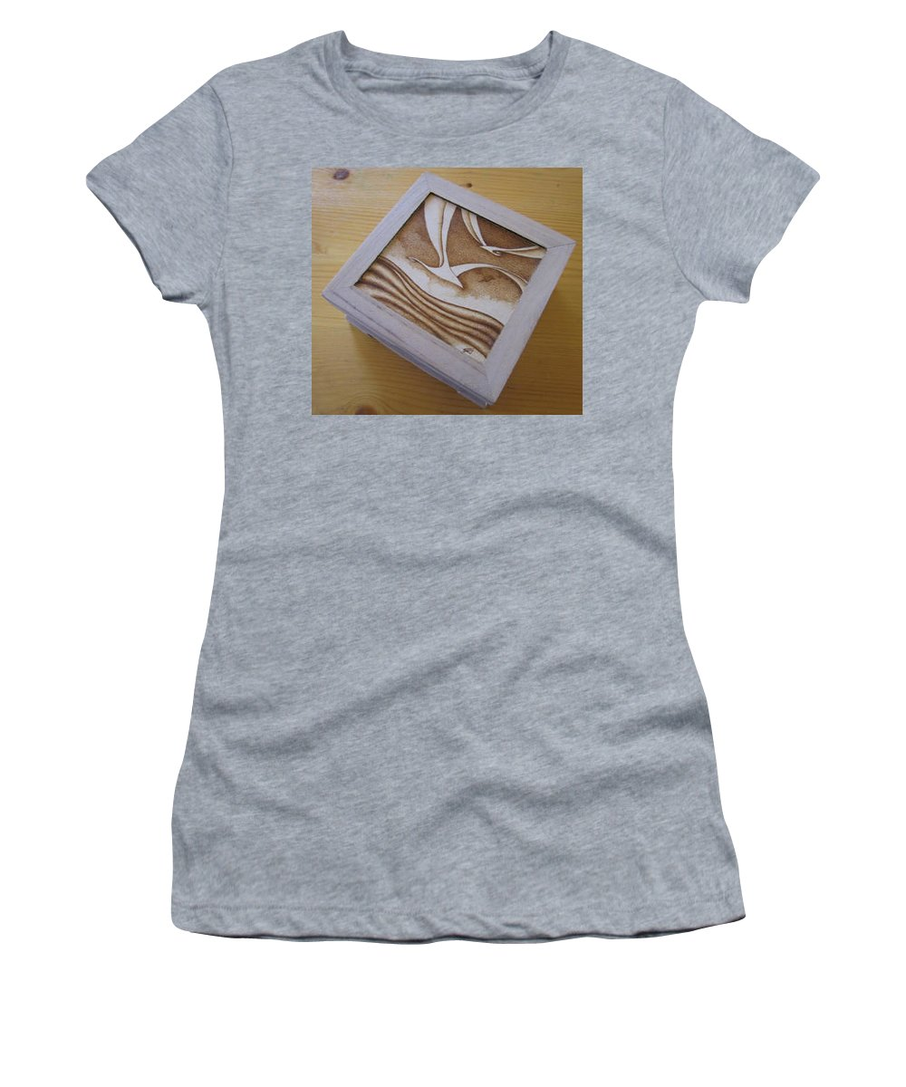 Box Women's T-Shirt featuring the pyrography Seagull Box by Ilaria Andreucci