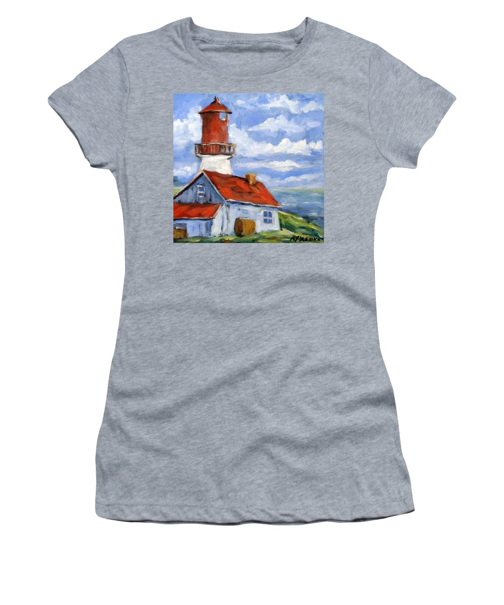 Art Women's T-Shirt (Athletic Fit) featuring the painting Seaside Sentinal by Richard T Pranke