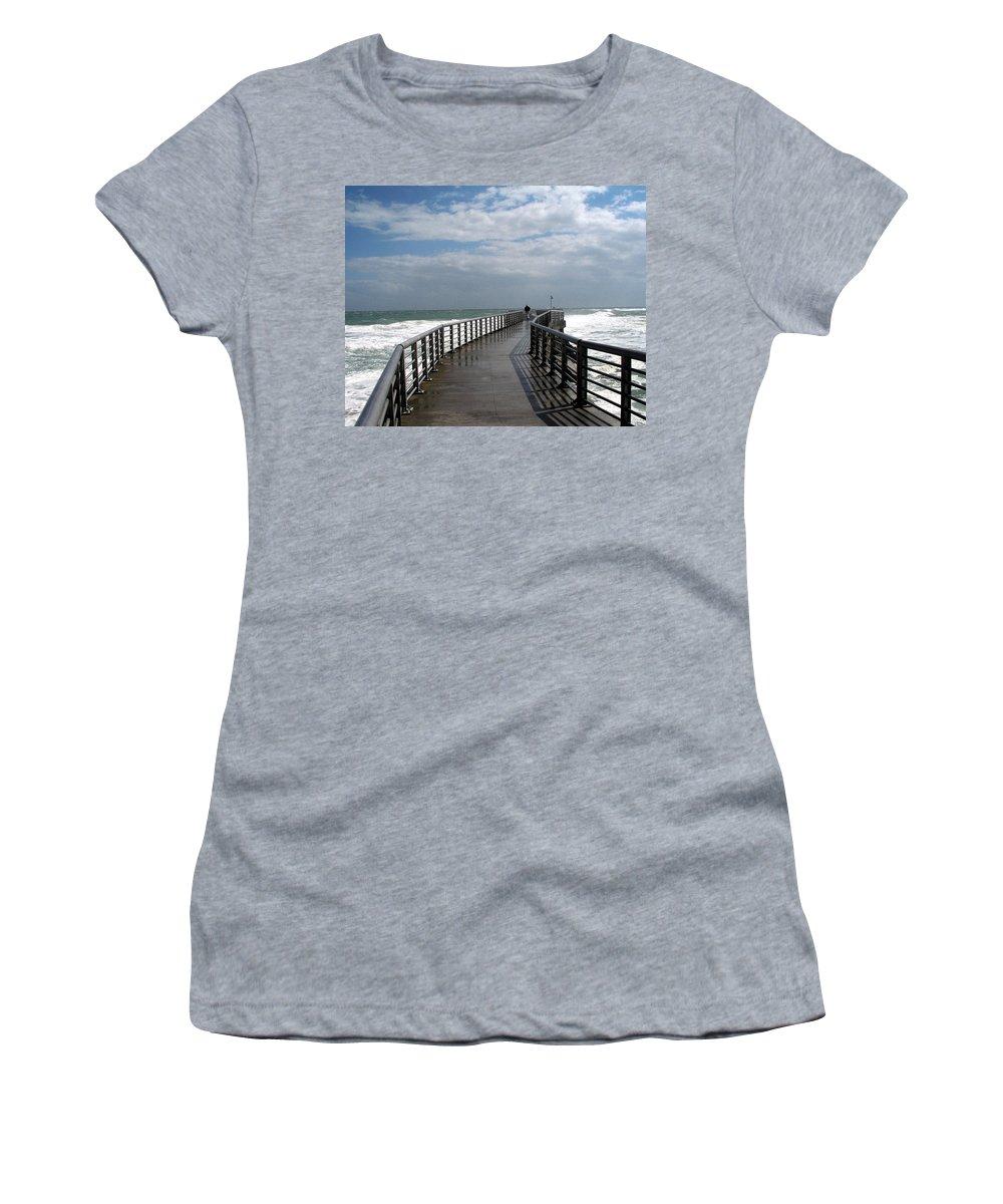 Walk; Solitary; Lonely; Sebastian; Inlet; Florida; Sea; Ocean; Water; Surf; Atlantic; Jetty; Waves; Women's T-Shirt featuring the photograph Sebastian Inlet On The Atlantic Coast Of Florida by Allan Hughes