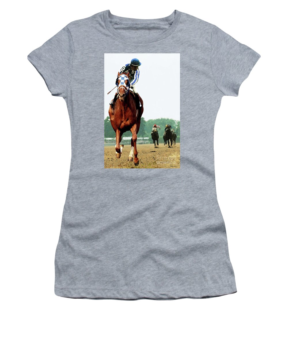 1 1/2 Mile Women's T-Shirt featuring the painting Secretariat Winning The Belmont Stakes, Jockey Ron Turcotte Looking Back, 1973 by Thomas Pollart