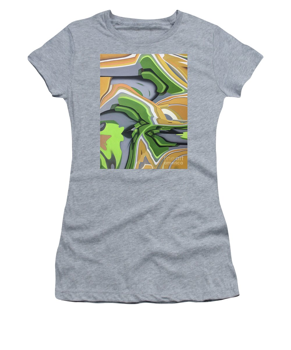 Painting Acrylic Abstract Handmade Brush Fluid Motion Kevin John Graham Paint Women's T-Shirt featuring the painting Security by Kevin J Graham