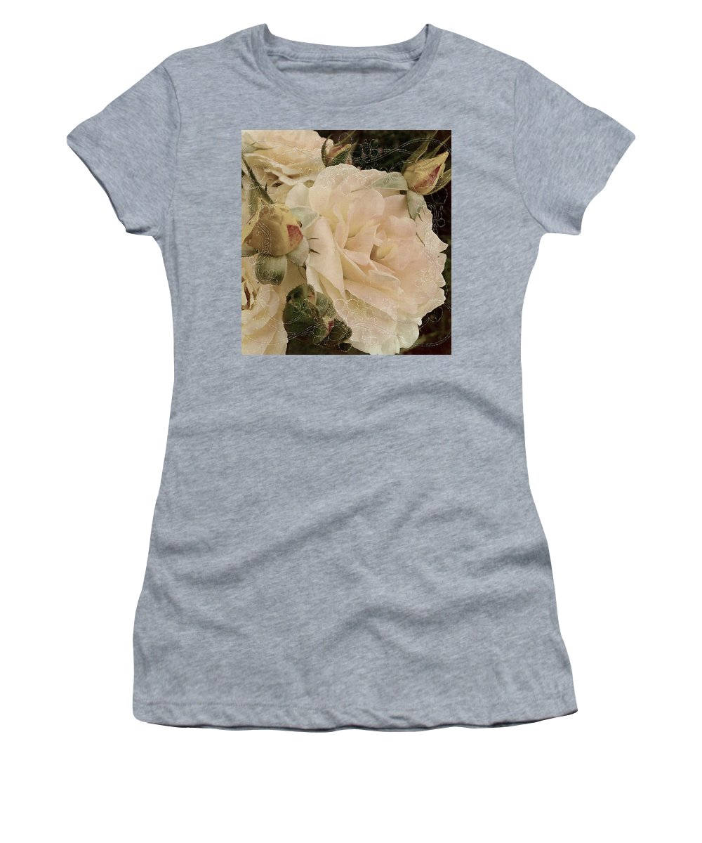 Roses Women's T-Shirt featuring the mixed media Sensual Kiss Of Yesteryear by Georgiana Romanovna