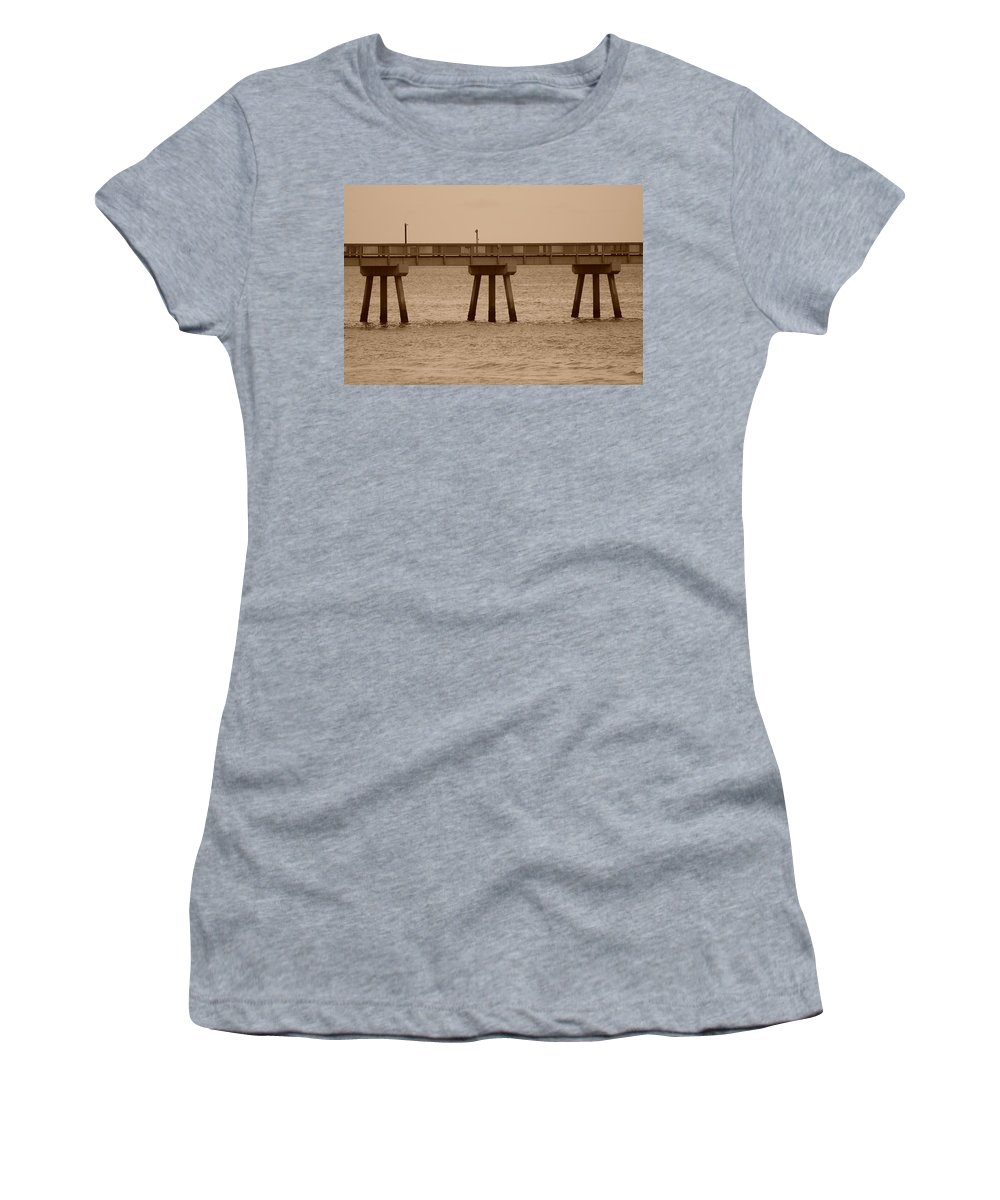 Sepia Women's T-Shirt (Athletic Fit) featuring the photograph Sepia Pier by Rob Hans