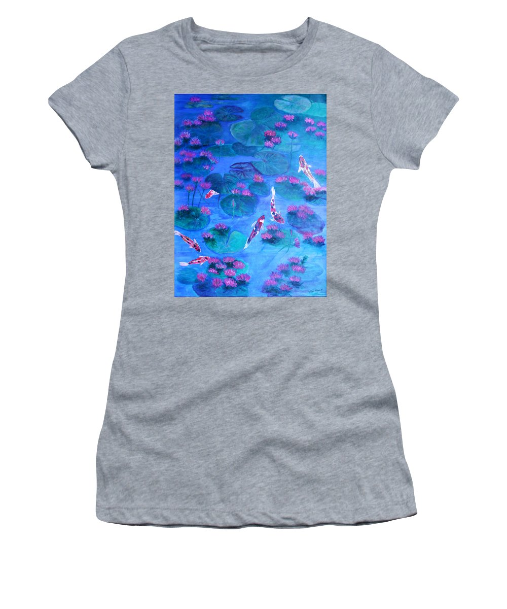 Lily Pads Women's T-Shirt (Athletic Fit) featuring the painting Serene Pond by Ben Kiger