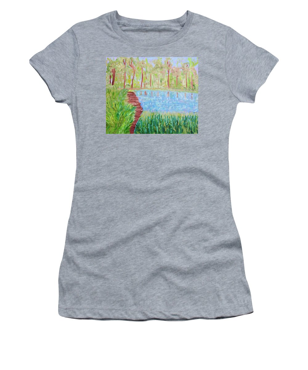 Lake Women's T-Shirt featuring the painting Serenity Now by Sara Credito