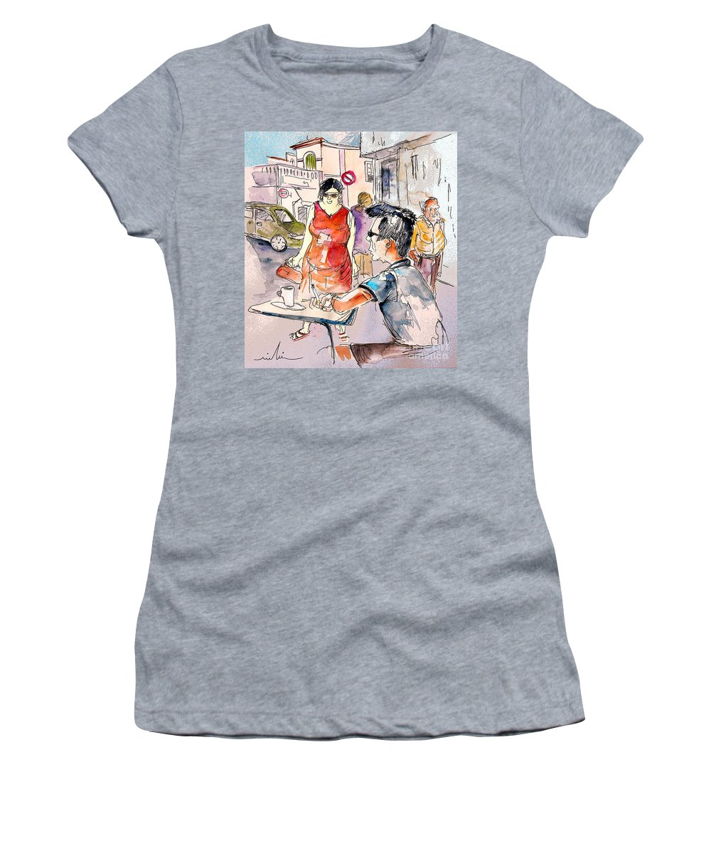 Portugal Paintings Women's T-Shirt featuring the painting Serpa Portugal 16 by Miki De Goodaboom