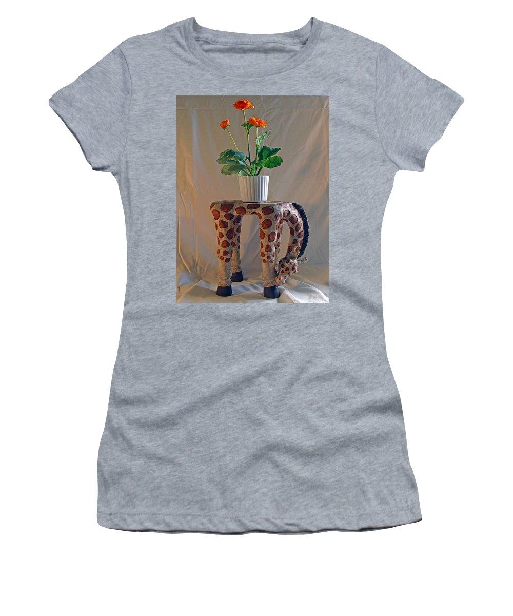 Giraffe; Burden; Flower; Pot; Orange; Artificial; Animal; Stuffed; Ceramic; Statue; Figurine; Figure Women's T-Shirt (Athletic Fit) featuring the photograph Servant Giraffe by Allan Hughes