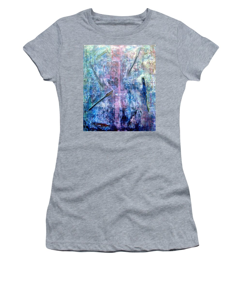 Abstract Women's T-Shirt (Athletic Fit) featuring the painting Seven Zippers by Nancy Mueller