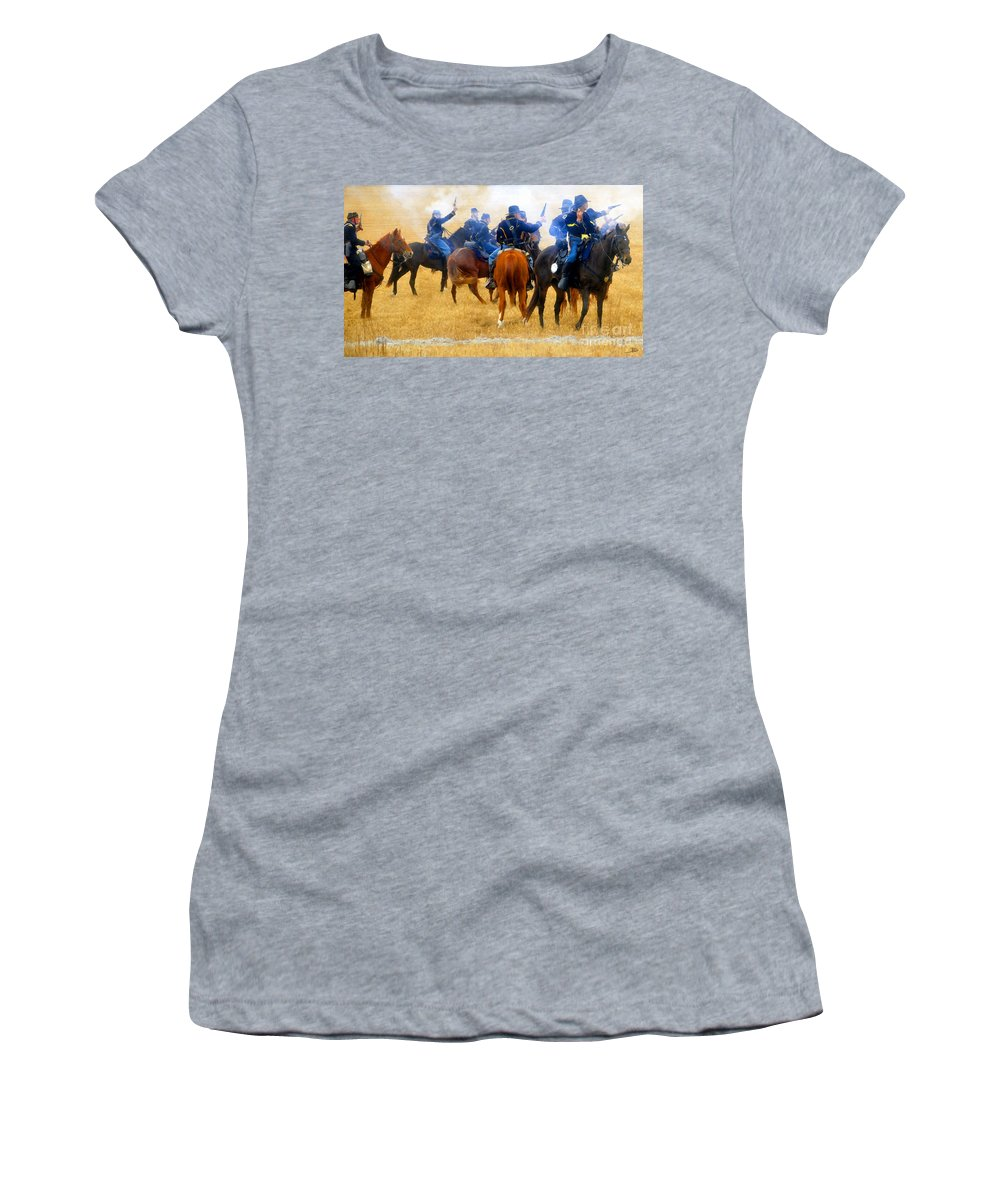 Indian Fighters Women's T-Shirt (Athletic Fit) featuring the painting Seventh Cavalry In Action by David Lee Thompson