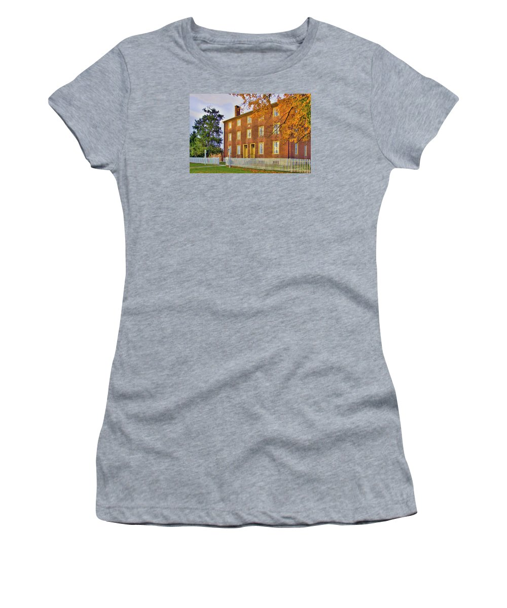 Shaker Women's T-Shirt (Athletic Fit) featuring the photograph Shaker Brick Building by Sam Davis Johnson