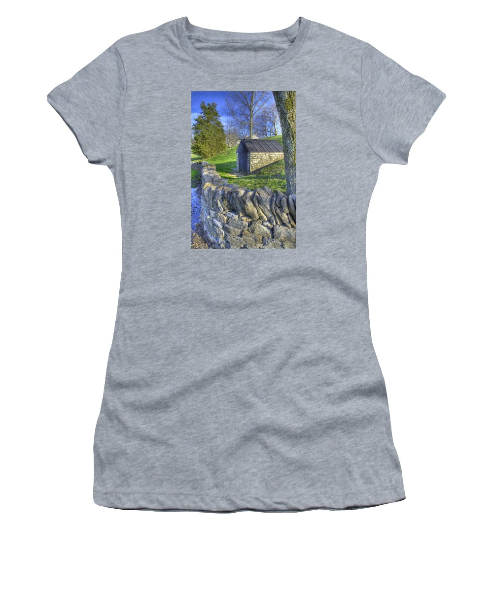Shaker Women's T-Shirt (Athletic Fit) featuring the photograph Shaker Stone Fence 6 by Sam Davis Johnson