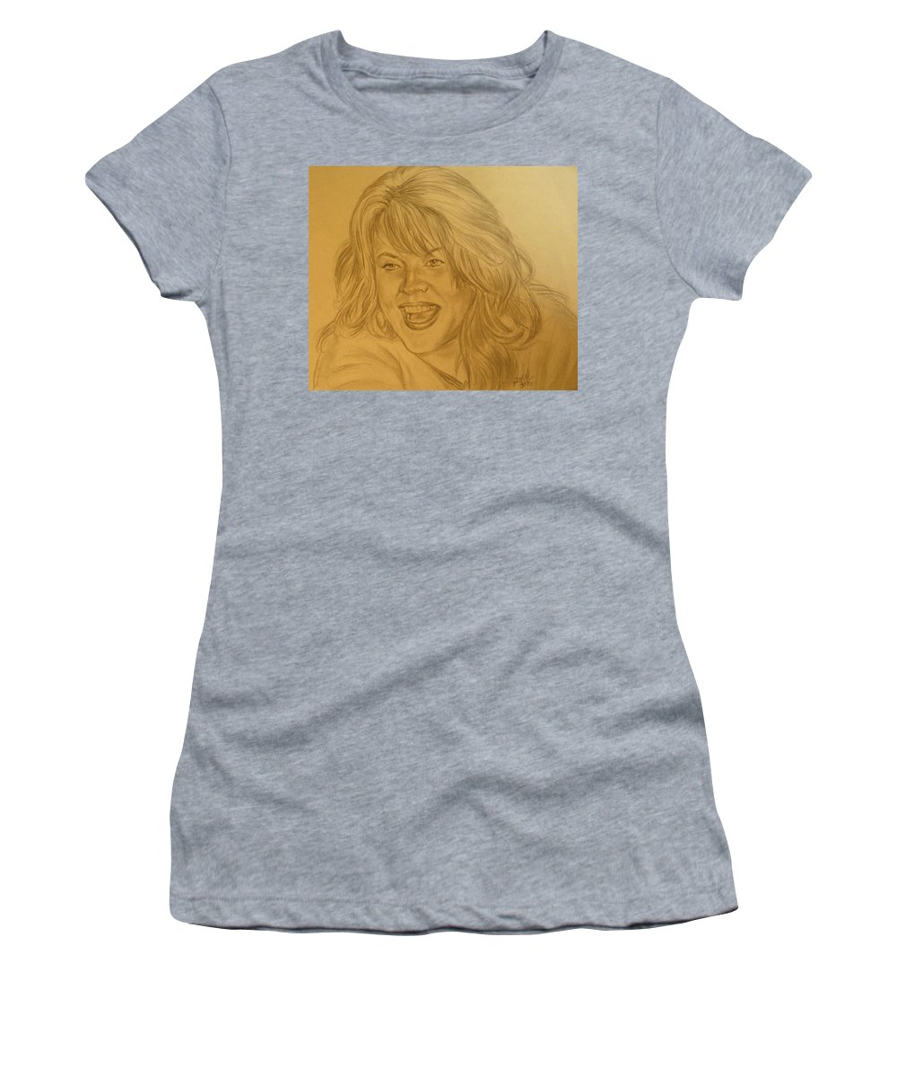 Portrait Women's T-Shirt (Athletic Fit) featuring the drawing Shannon by Bryan Bustard