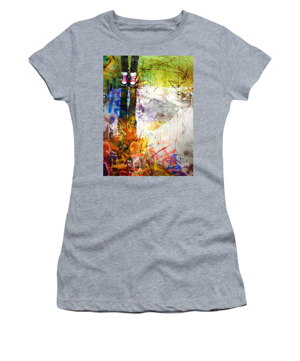 Shoes Women's T-Shirt featuring the photograph She Lives In A Box Of Paint by Tara Turner