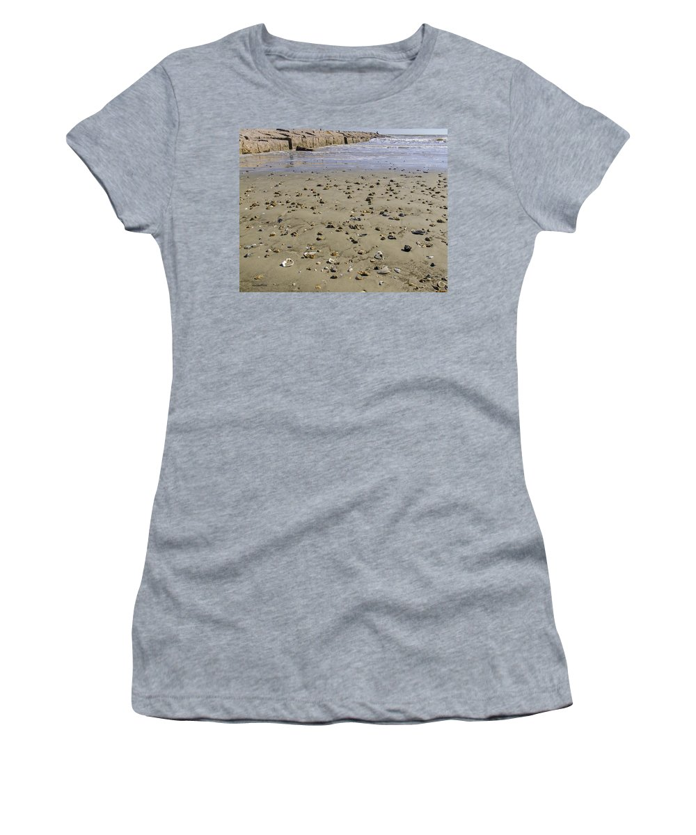 Galveston Women's T-Shirt (Athletic Fit) featuring the photograph Shells On The Beach by Allen Sheffield