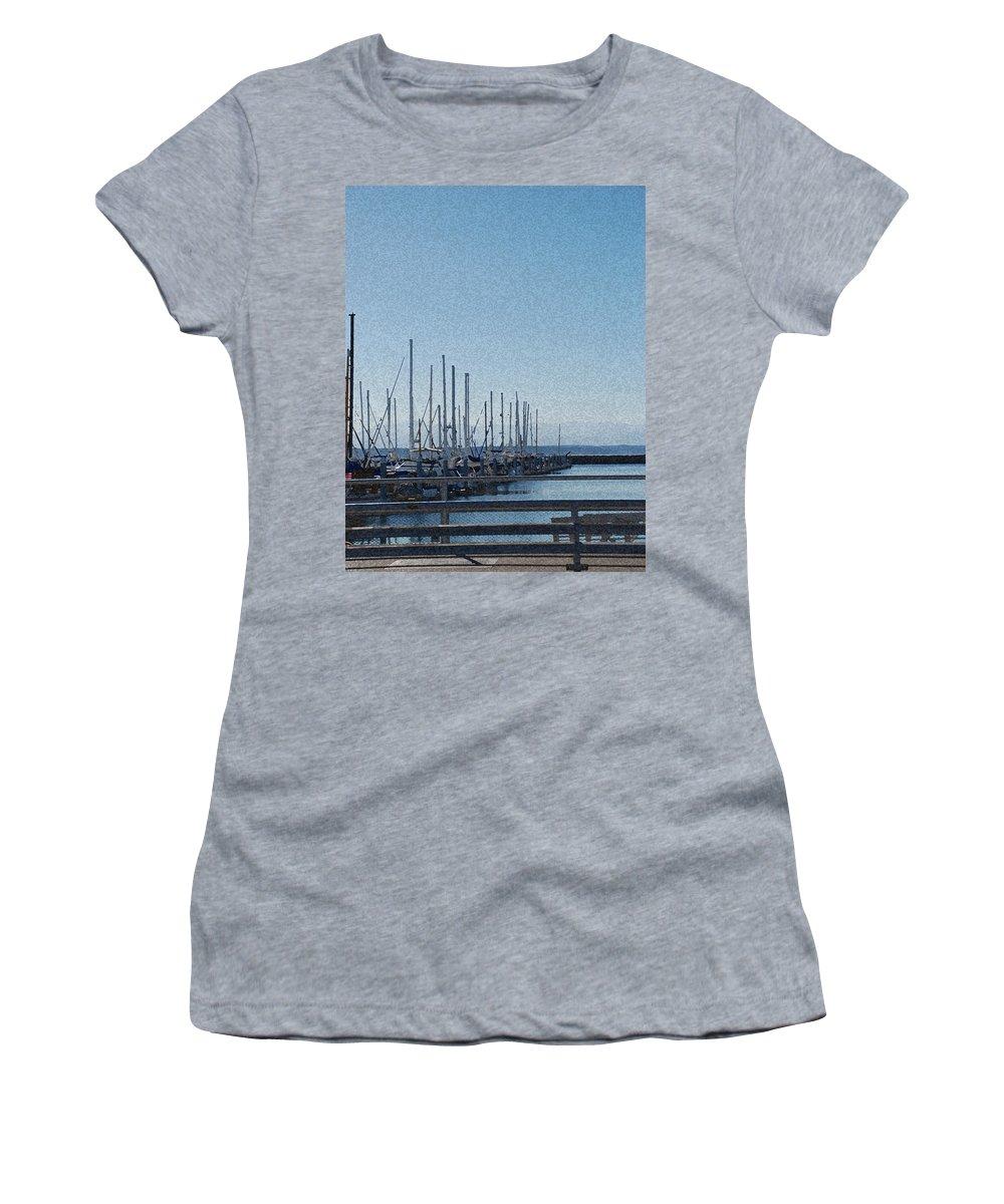 Sailboats Women's T-Shirt (Athletic Fit) featuring the photograph Shilshole Bay Marina 2010 by Carol Eliassen
