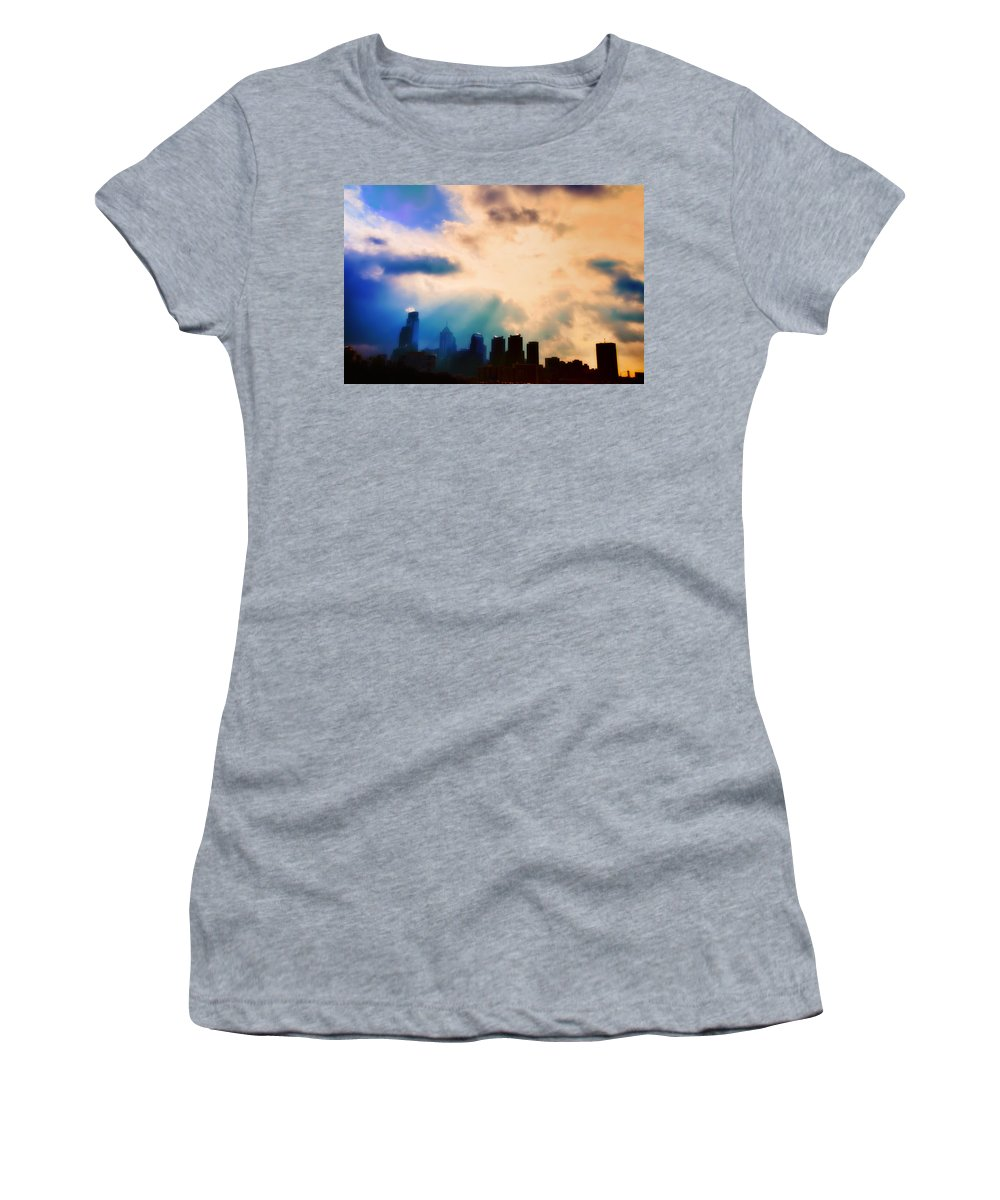 Philadelphia Women's T-Shirt (Athletic Fit) featuring the photograph Shine A Light by Bill Cannon