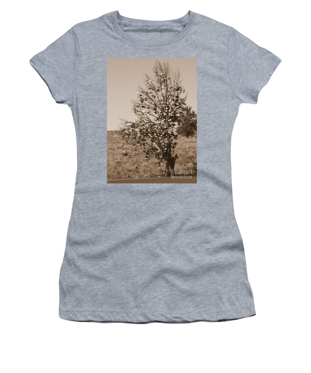 Sepia Women's T-Shirt featuring the photograph Shoe Tree In Sepia by Carol Groenen