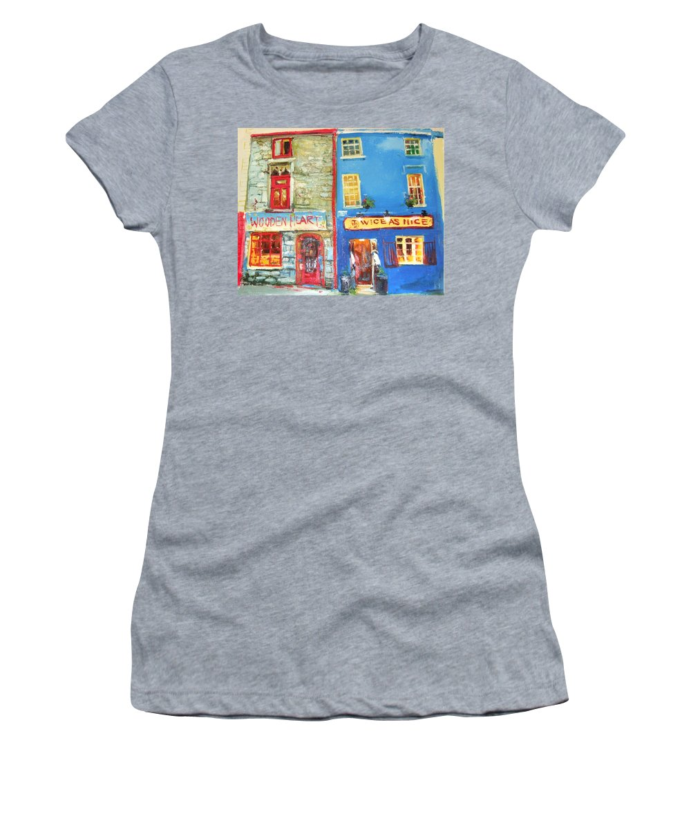 Traditional Shopfronts Galway Women's T-Shirt (Athletic Fit) featuring the painting Shopfronts Galway by Conor McGuire