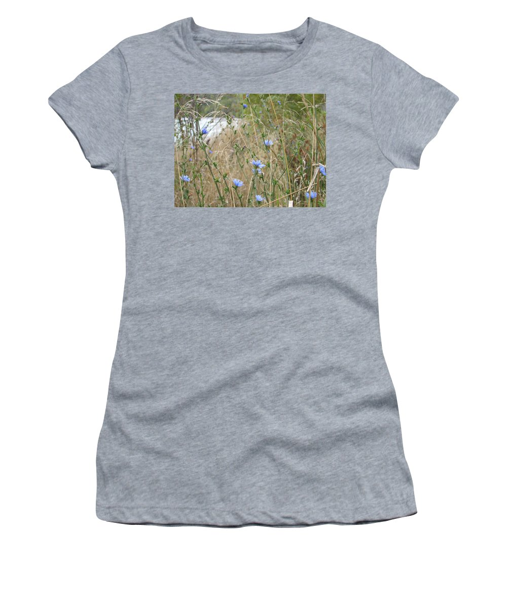 Flower Women's T-Shirt (Athletic Fit) featuring the photograph Shore Flowers by Kelly Mezzapelle