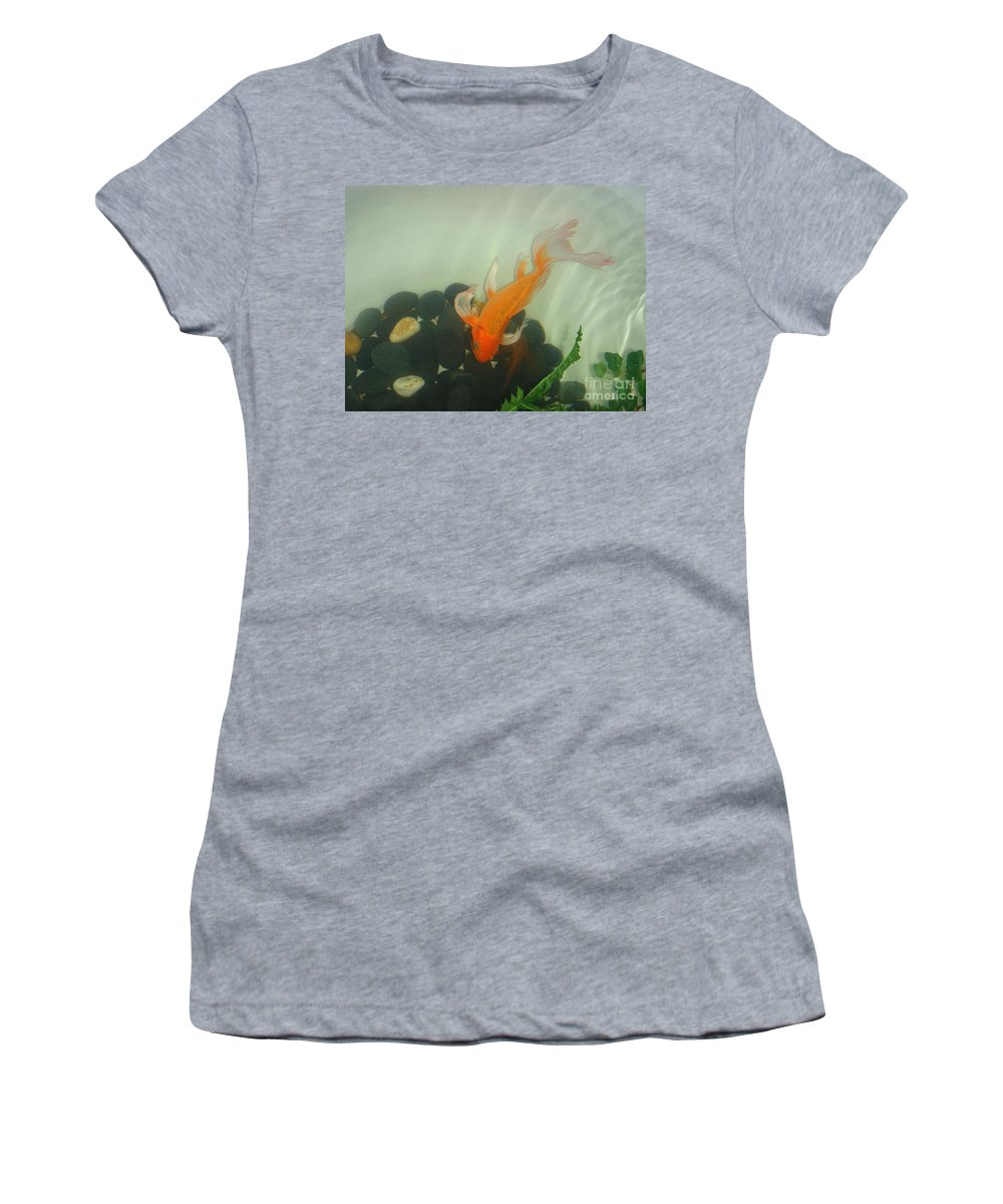 Orange Women's T-Shirt (Athletic Fit) featuring the photograph Siamese Fighting Fish 1 by Mary Deal