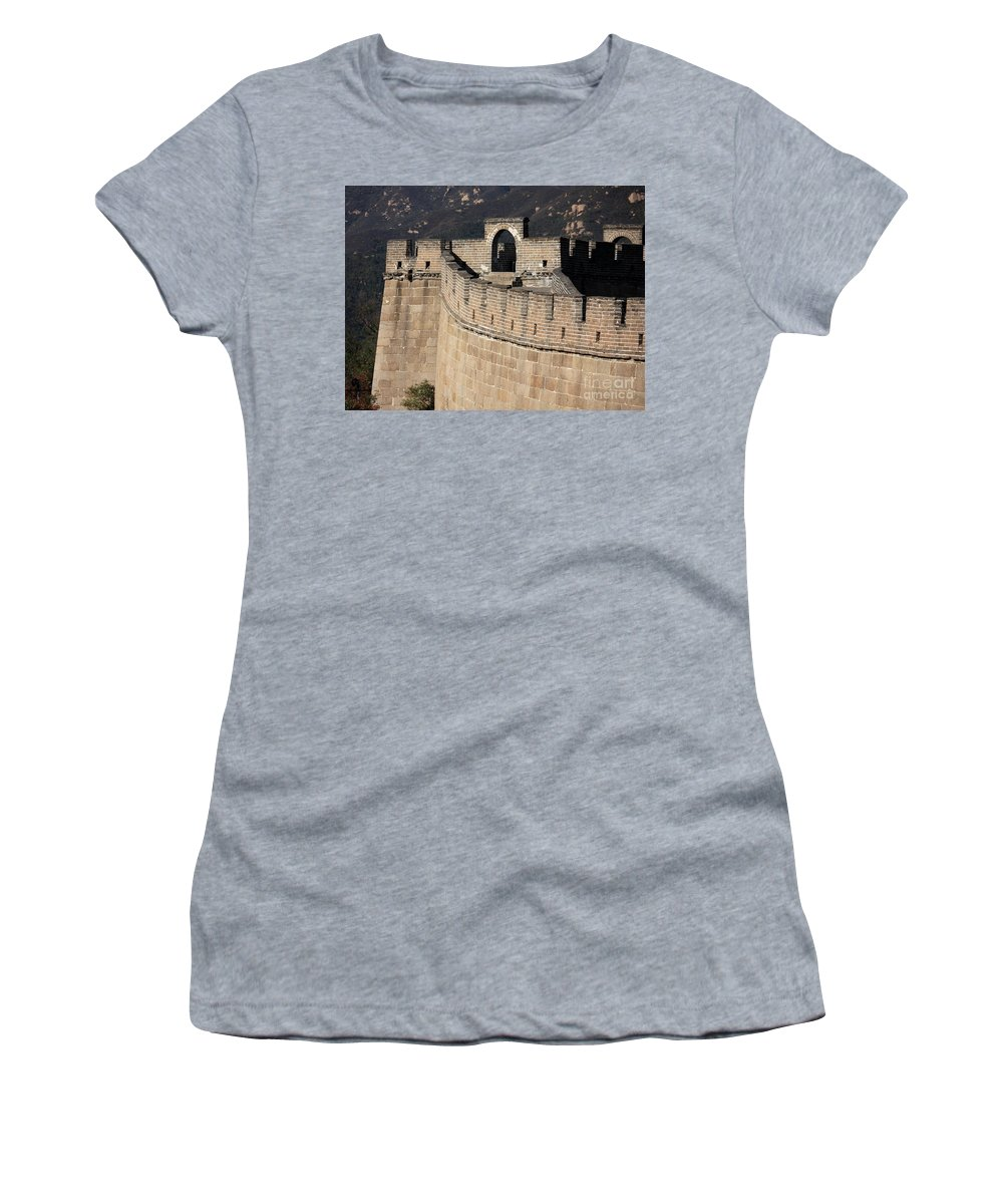 The Great Wall Of China Women's T-Shirt (Athletic Fit) featuring the photograph Side View Of The Great Wall by Carol Groenen