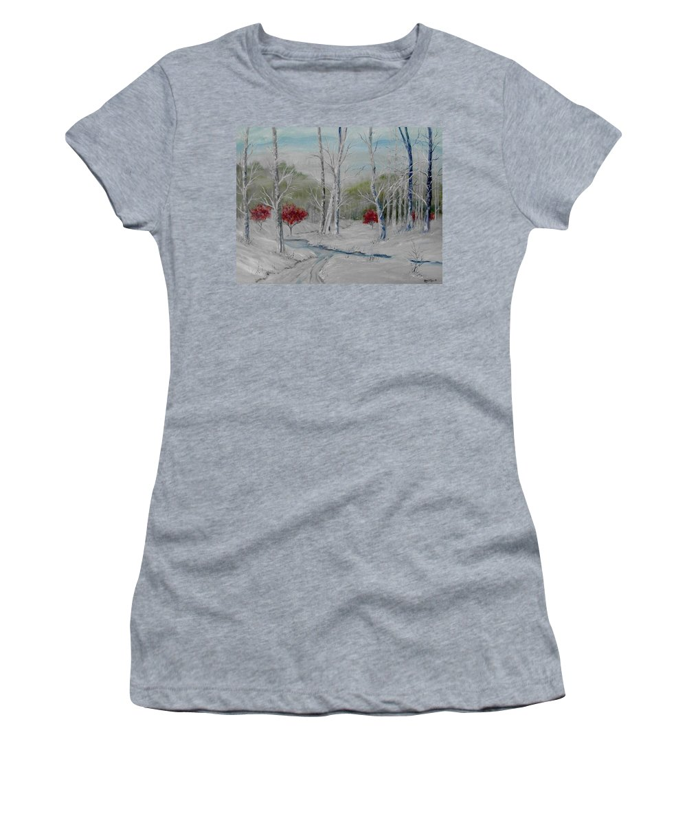 Snow; Winter; Birch Trees Women's T-Shirt featuring the painting Silence by Ben Kiger