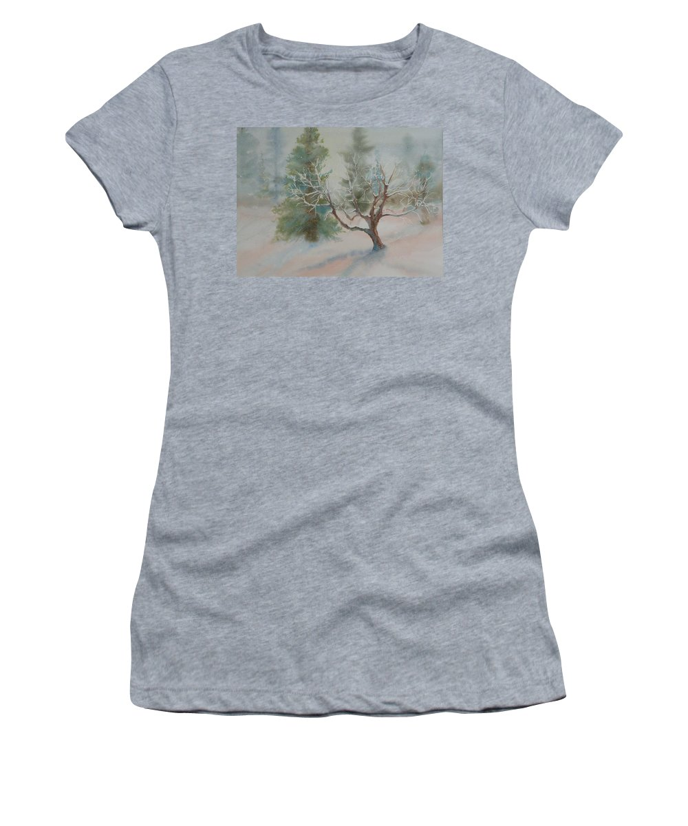 Snow Women's T-Shirt (Athletic Fit) featuring the painting Silence by Ruth Kamenev