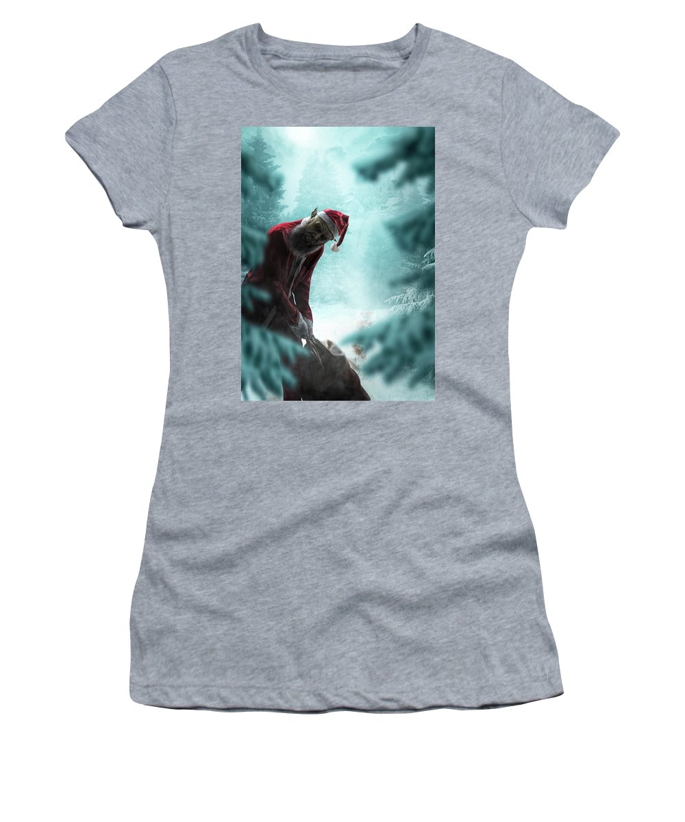Women's T-Shirt featuring the digital art Silent Night Unholy Night by Clinton Lofthouse
