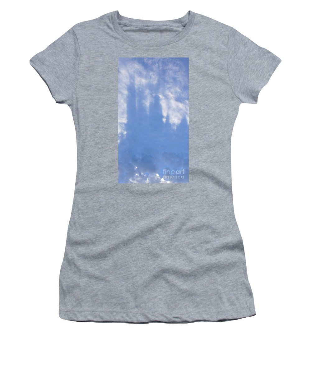 Silhouette Women's T-Shirt (Athletic Fit) featuring the photograph Silhouette Of Sky Scrapers Reflected In The Clouds by Lilliana Mendez