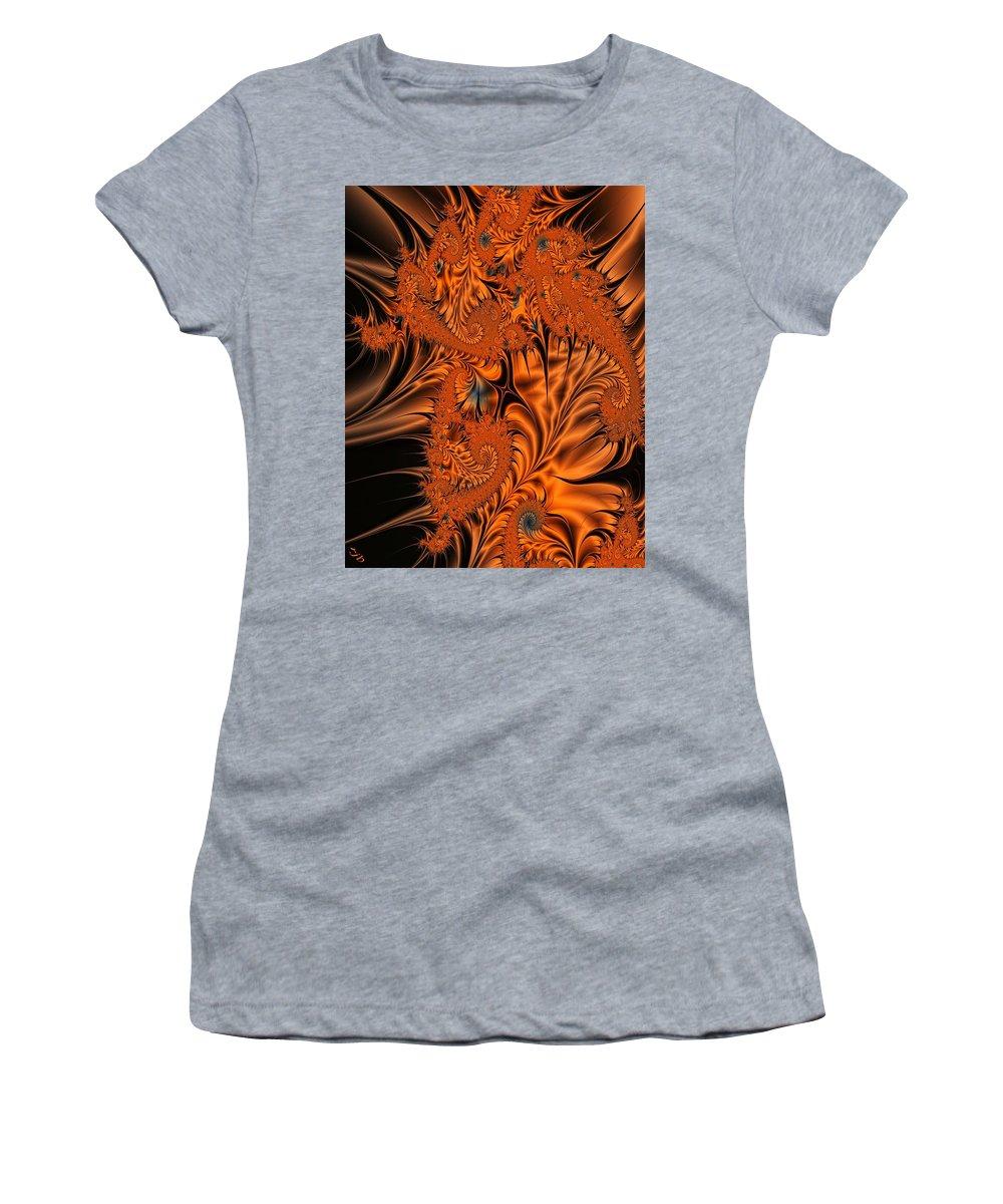 Silk Women's T-Shirt featuring the digital art Silk in Orange by Ron Bissett