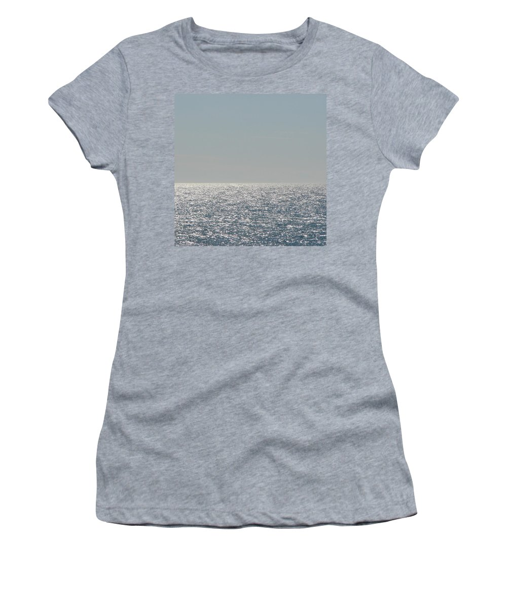 Blue Women's T-Shirt (Athletic Fit) featuring the photograph Silver Light On Lake Michigan by Michelle Calkins