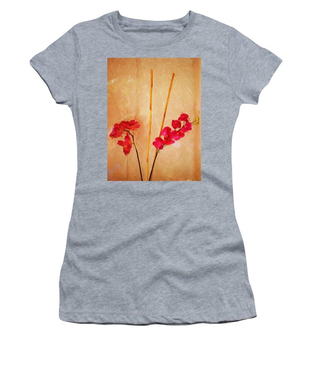 Fine Art Women's T-Shirt (Athletic Fit) featuring the digital art Simple Floral Arrangement by David Lane