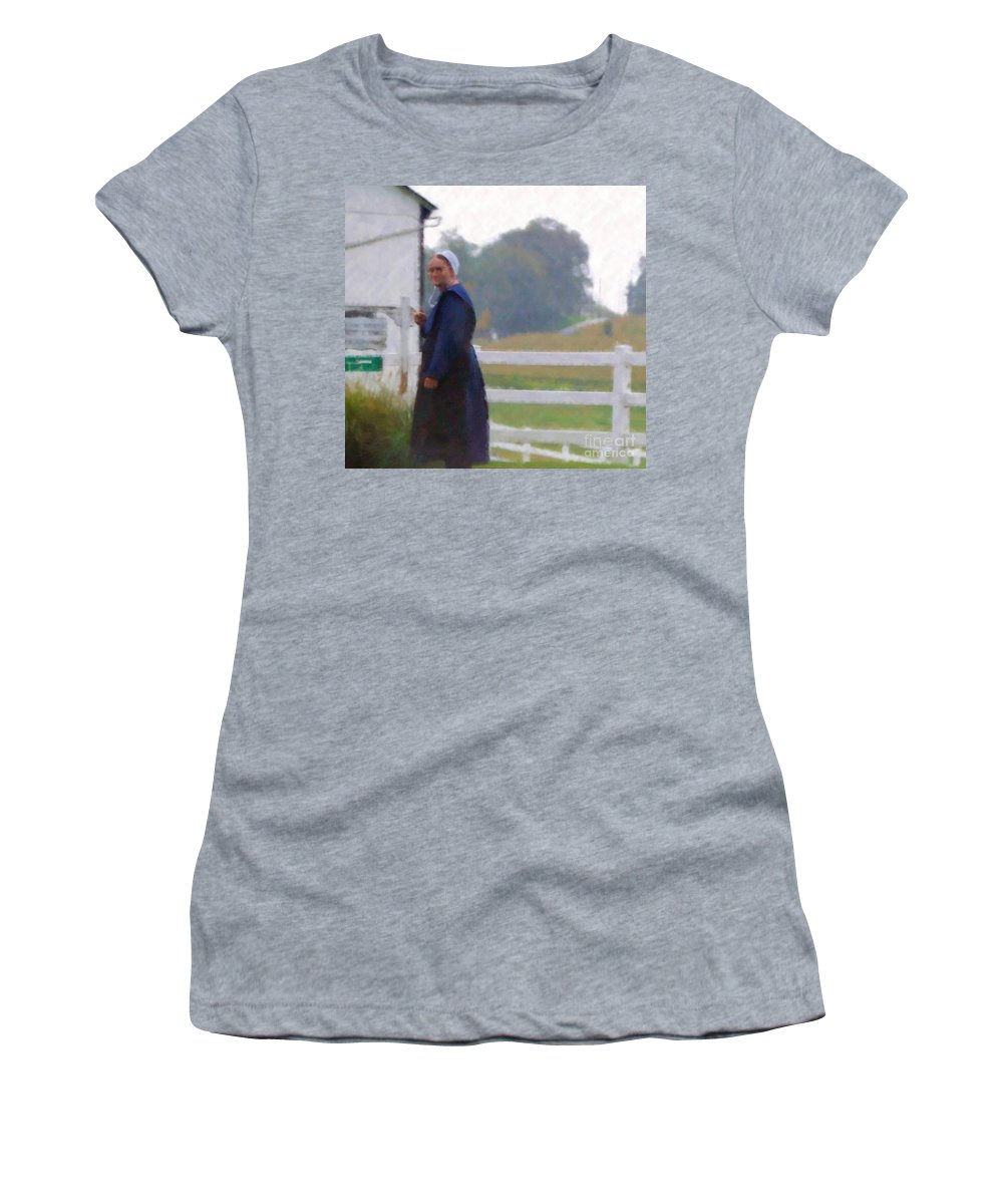 Amish Women's T-Shirt (Athletic Fit) featuring the photograph Simple Living by Debbi Granruth