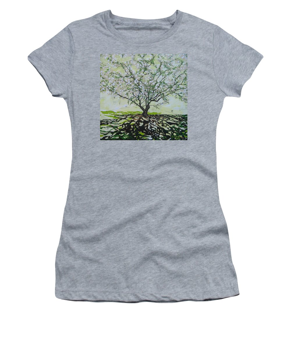 Apple Tree Women's T-Shirt featuring the painting Sincerely-The Curator by Leah Tomaino