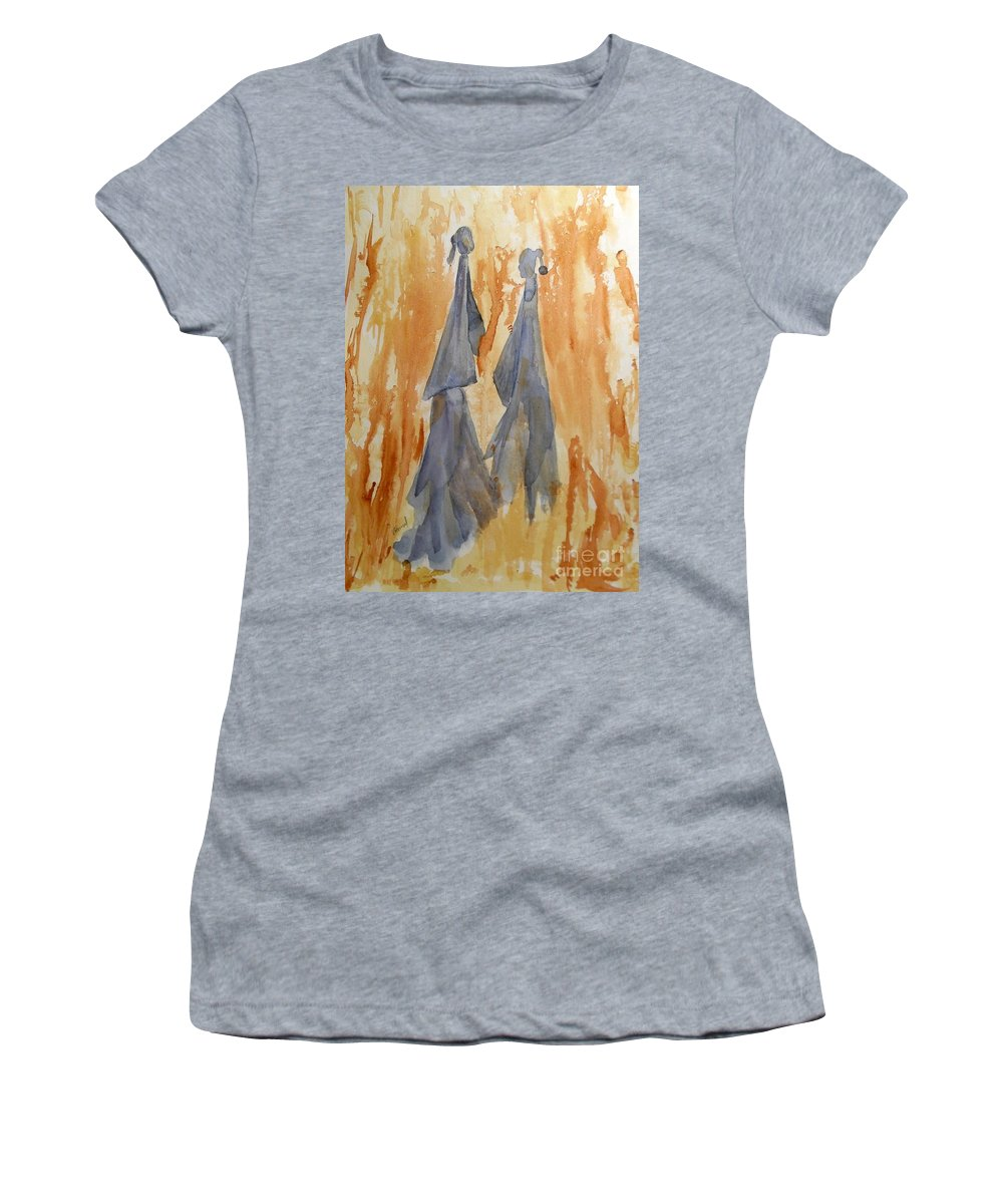 Watercolor Women's T-Shirt (Athletic Fit) featuring the painting Sisters by Vicki Housel