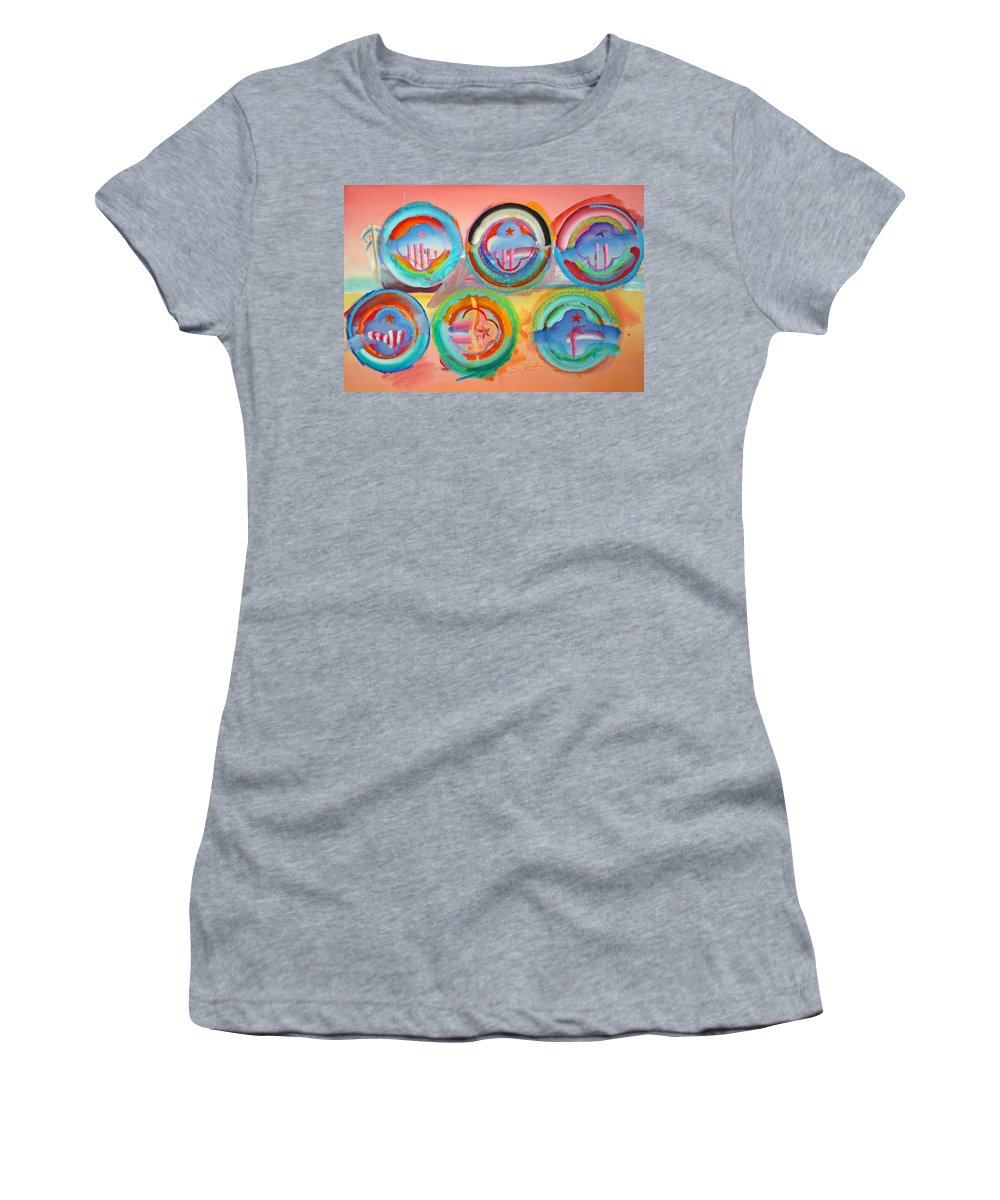 9/11 Women's T-Shirt (Athletic Fit) featuring the painting Six American Icons by Charles Stuart