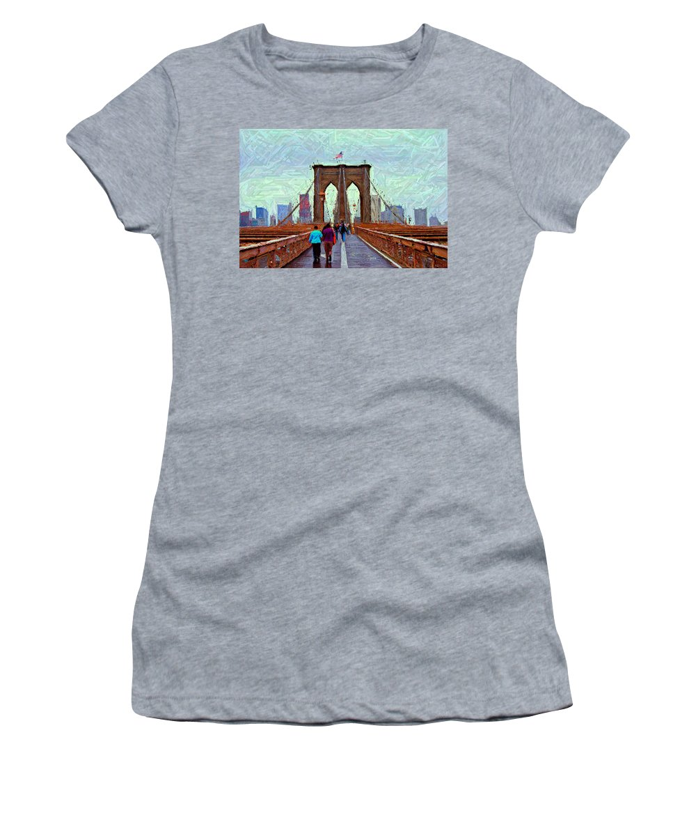 Brooklyn Women's T-Shirt featuring the digital art Sketch Of Brooklyn Bridge Pedestrians by Randy Aveille