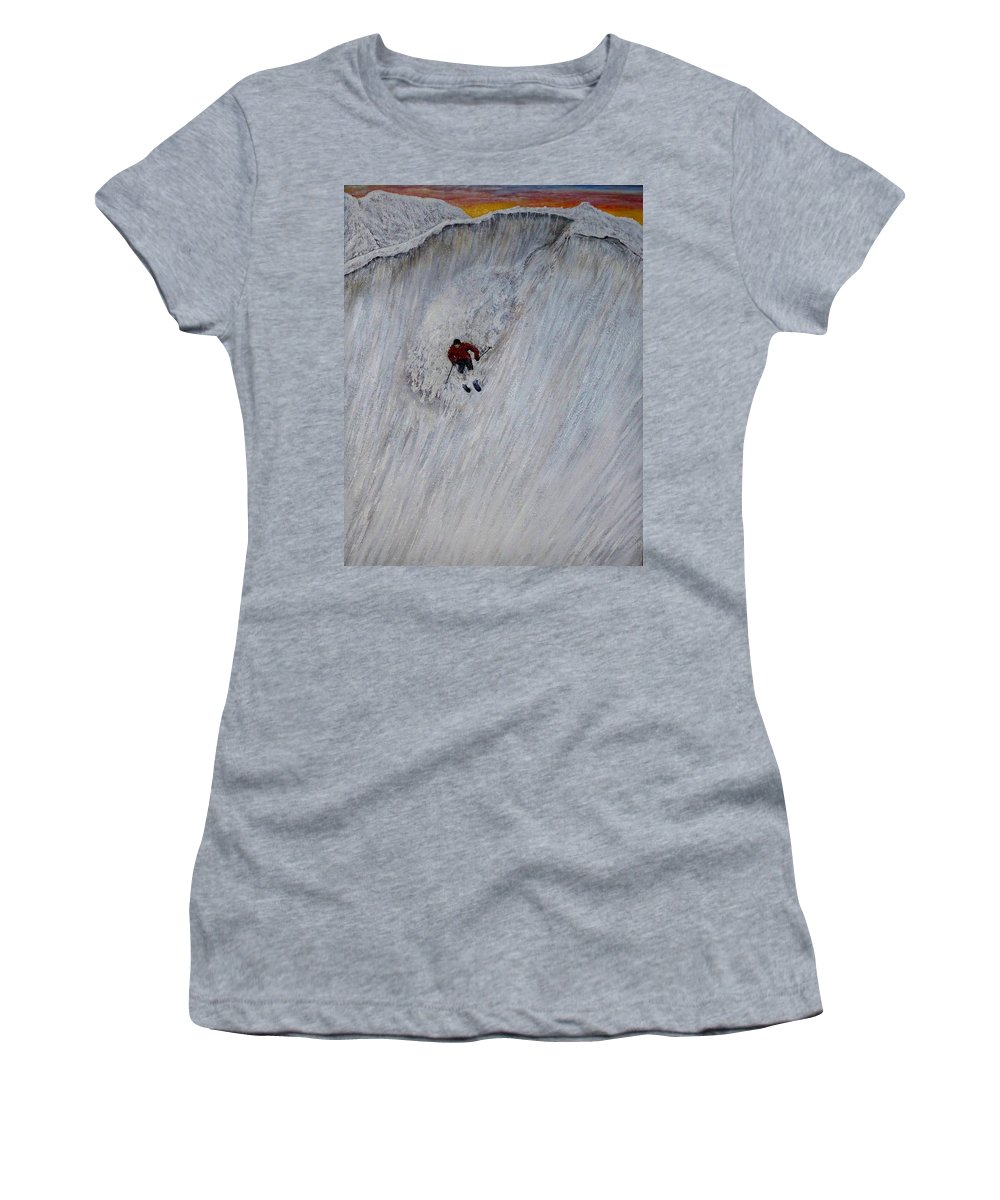 Landscape Women's T-Shirt (Athletic Fit) featuring the painting Skitilthend by Michael Cuozzo