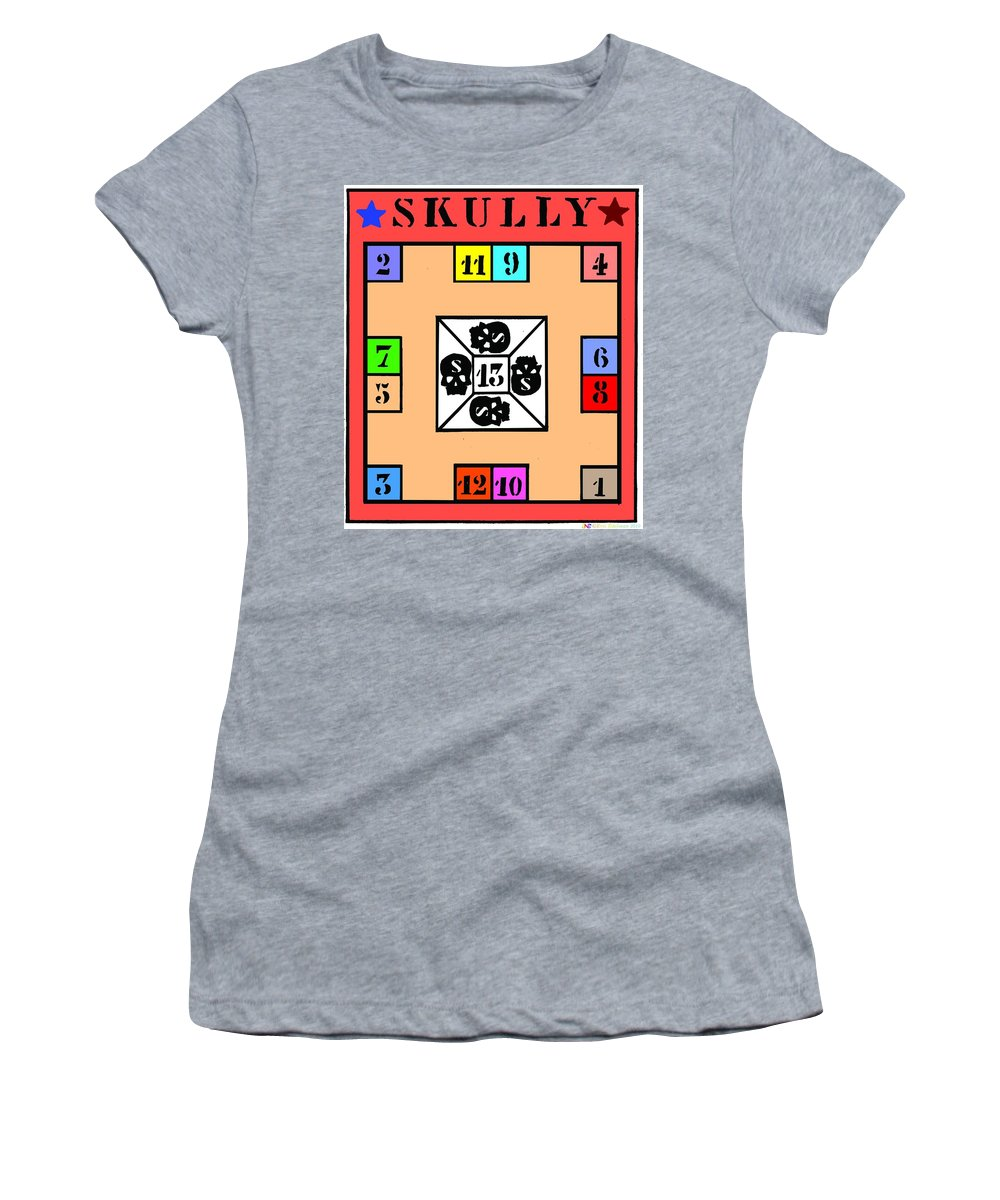 Board Games Women's T-Shirt (Athletic Fit) featuring the digital art Skully Board by Eric Edelman