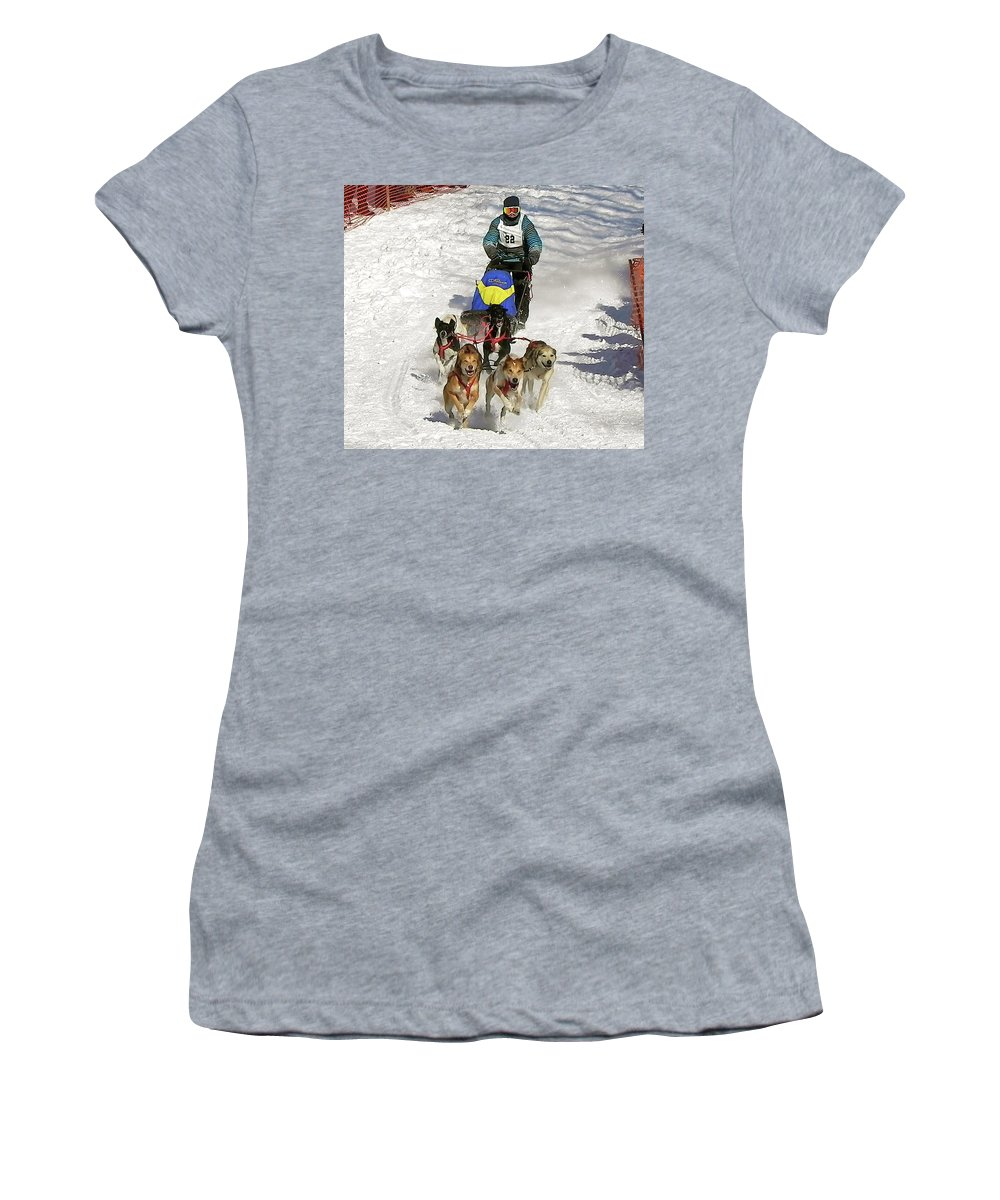 Dog Women's T-Shirt (Athletic Fit) featuring the photograph Sled Dogs In Action by Maureen Beaudet