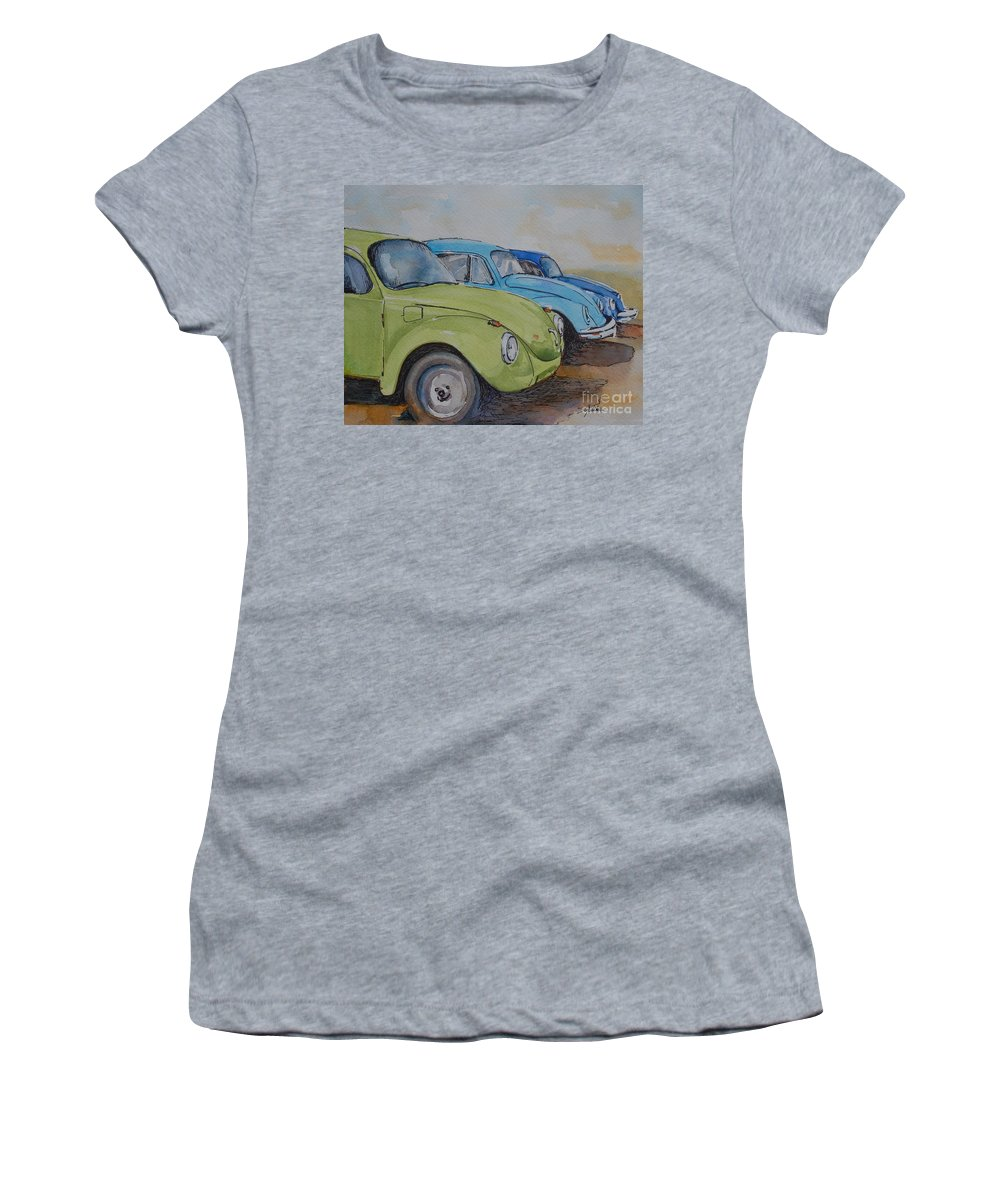 Vw Beetle Women's T-Shirt (Athletic Fit) featuring the painting Slugbug Green by Gretchen Bjornson