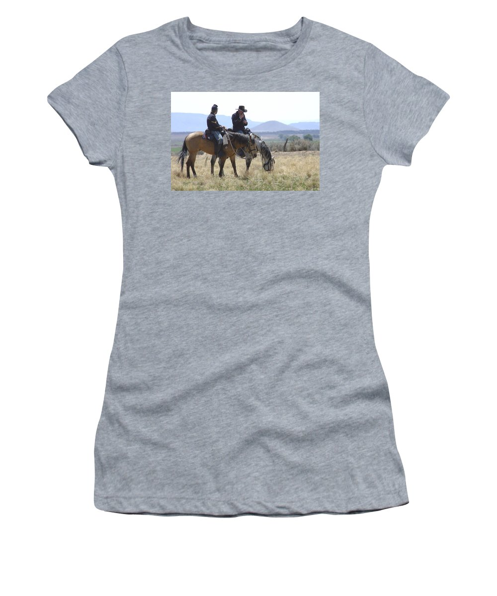Cowboys Women's T-Shirt (Athletic Fit) featuring the photograph Smoke Break by Jerry McElroy