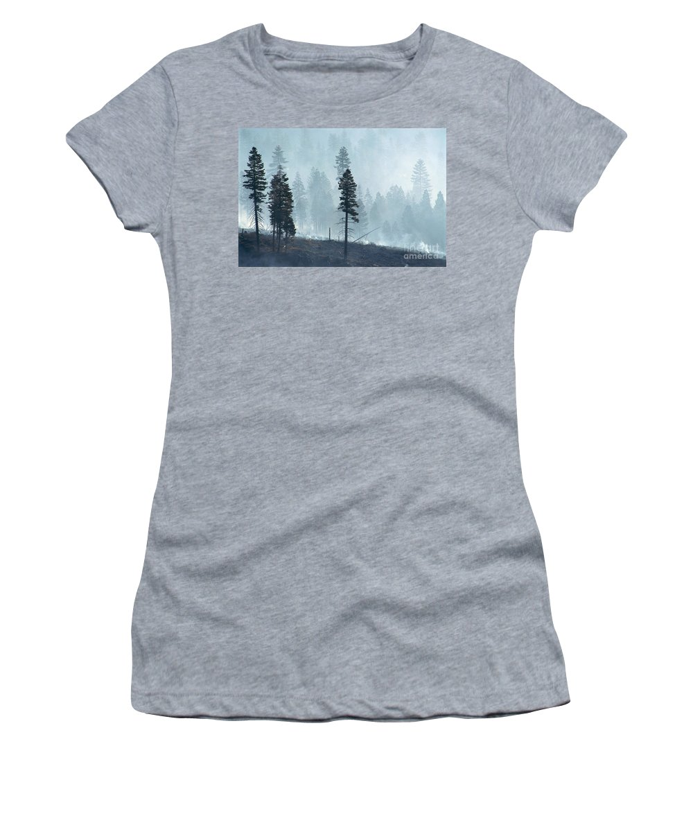 Black Women's T-Shirt (Athletic Fit) featuring the photograph Smokey Trees by Greg Vaughn - Printscapes