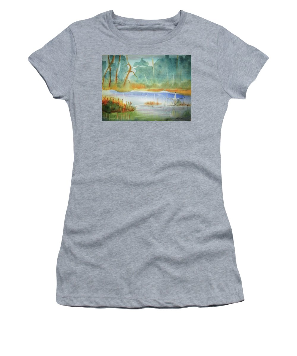 Goose Women's T-Shirt featuring the painting Snow Goose Landing by Ellen Levinson