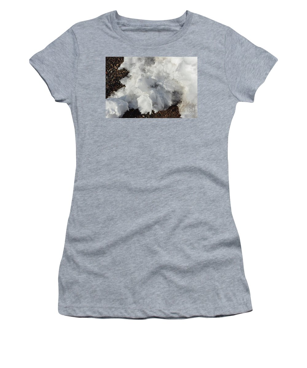 Snow Women's T-Shirt (Athletic Fit) featuring the photograph Snow Melting Shapes by Alice Markham