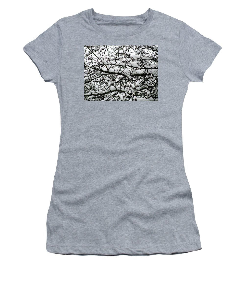 Foliage Women's T-Shirt (Athletic Fit) featuring the photograph Snowfall On Branches by Deborah Crew-Johnson