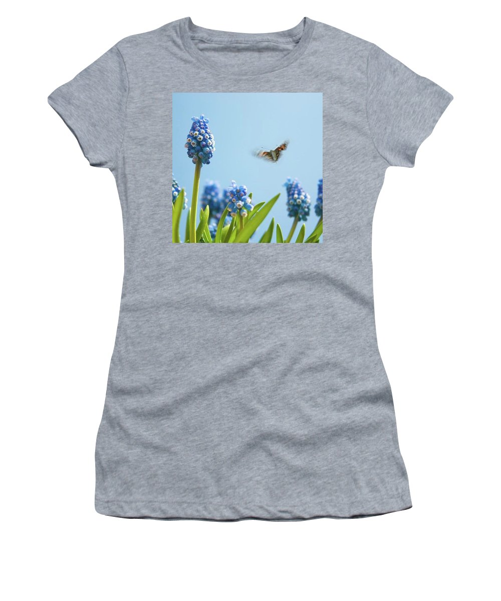 Insectsofinstagram Women's T-Shirt featuring the photograph Something In The Air: Peacock by John Edwards