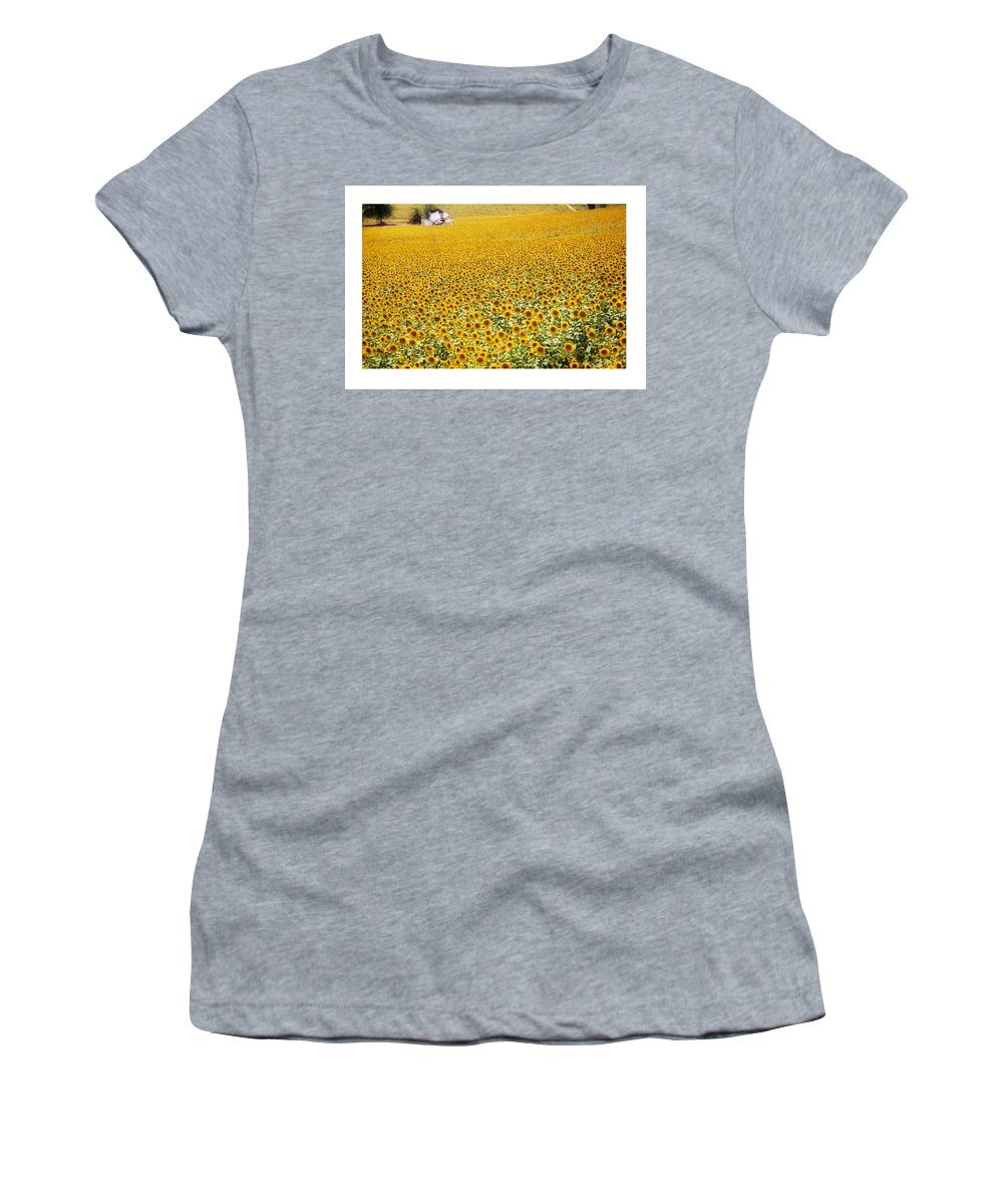 Sunflowers Women's T-Shirt (Athletic Fit) featuring the photograph Spanish Sunflowers by Mal Bray