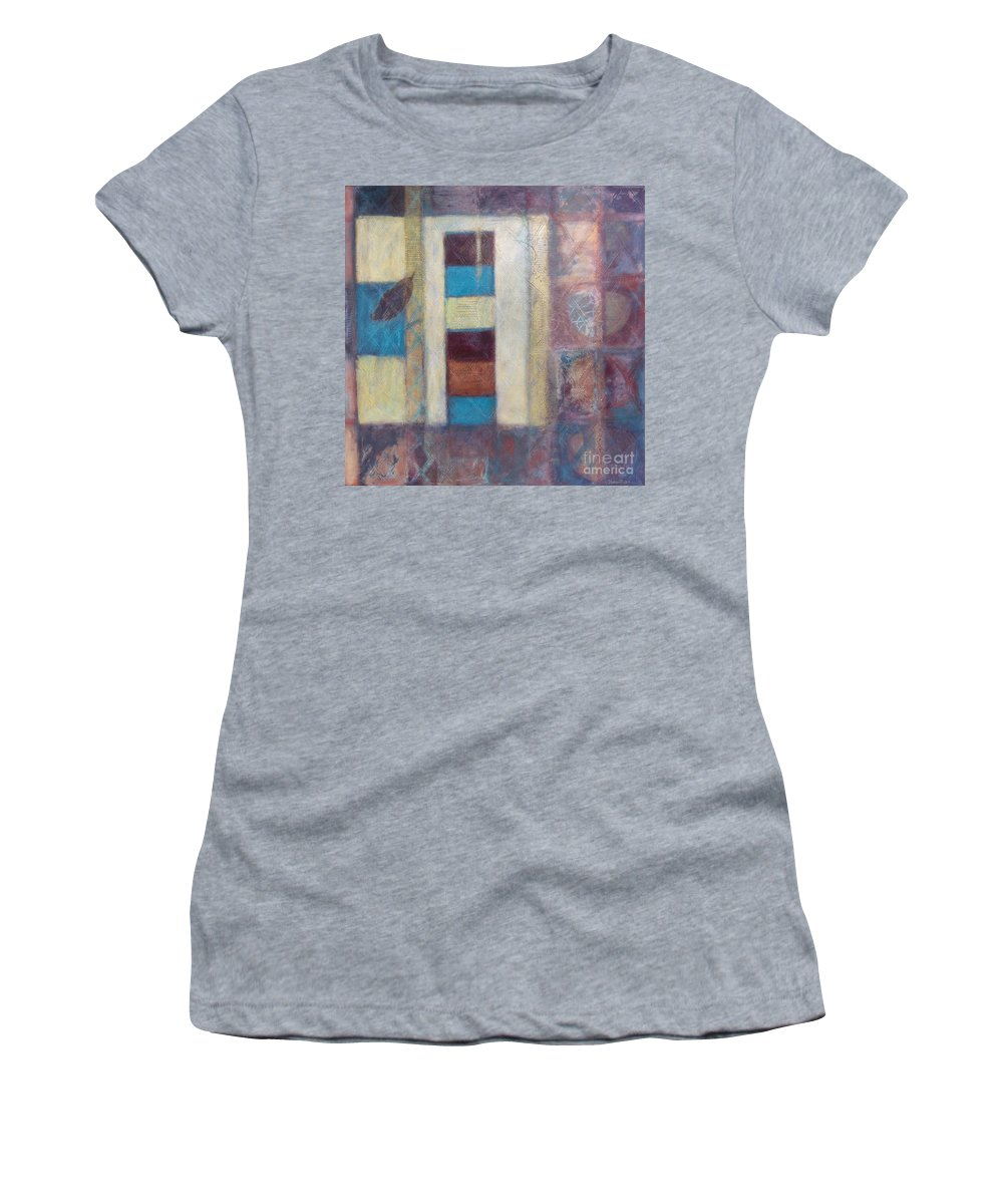 Spiritual Women's T-Shirt (Athletic Fit) featuring the painting Spirit Of Gold - States Of Being by Kerryn Madsen- Pietsch