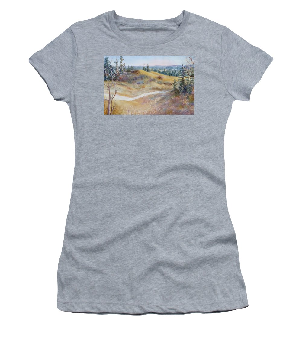 Landscape Women's T-Shirt (Athletic Fit) featuring the painting Spirit Sands by Ruth Kamenev
